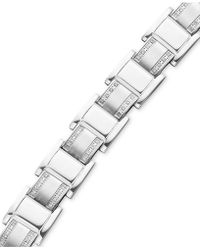 Macy's - Men's Stainless Steel Bracelet, Diamond Square Link (3/4 Ct. T.w.) - Lyst
