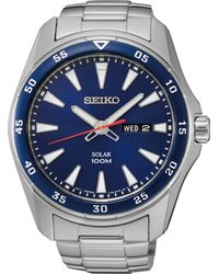 Seiko - Solar Sport Stainless Steel Bracelet Watch 43mm - Lyst