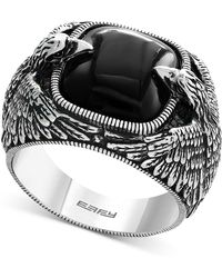 Effy Collection - Men's Onyx Eagle Ring (10 Ct. T.w.) In Sterling Silver - Lyst