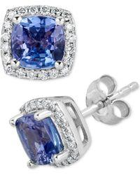 Macy's - Tanzanite (2 Ct. T.w.) & Diamond (1/5 Ct. T.w.) Stud Earrings In 14k White Gold - Lyst