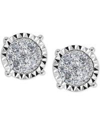 Macy's - Diamond Cluster Miracle-plate Stud Earrings (1 Ct. T.w.) In 14k White Gold - Lyst