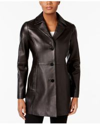 Anne Klein - Leather Blazer Jacket - Lyst