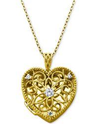 "Giani Bernini - Cubic Zirconia Openwork Filigree Heart Locket 18"" Pendant Necklace, Created For Macy's - Lyst"