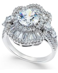 Macy's - Cubic Zirconia Deco Cluster Ring In Sterling Silver - Lyst