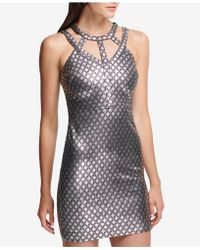 Guess - Printed Metallic Cage-neck Bodycon Dress - Lyst