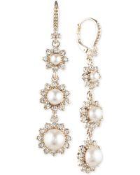 Marchesa - Gold-tone Imitation Pearl & Crystal Triple Drop Earrings - Lyst