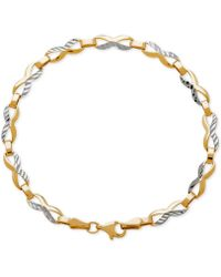 Macy's - Two-tone Textured Figure-eight Link Bracelet In 14k Gold - Lyst