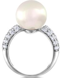 Majorica | Sterling Silver Cubic Zirconia & Imitation Pearl Ring | Lyst