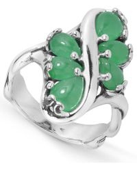 Carolyn Pollack - Green Jade Multi Stone Ring In Sterling Silver - Lyst