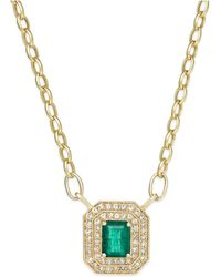 Effy Collection - Emerald (1-3/8 Ct. T.w.) And Diamond (1/2 Ct. T.w.) Pendant Necklace In 14k Gold - Lyst