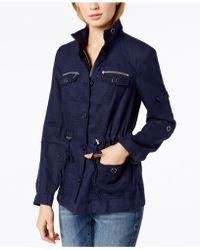 dd138b38d59d7 Lyst - Inc International Concepts Linen Peplum Military Jacket in ...