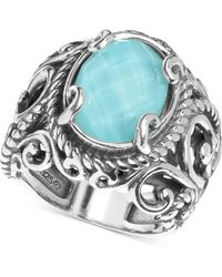 Carolyn Pollack - Turquoise/rock Crystal Doublet Ring In Sterling Silver - Lyst