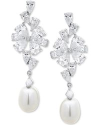 Arabella - Cultured Freshwater Pearl (8mm) & Swarovski Zirconia Drop Earrings In Sterling Silver - Lyst