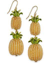 Kate Spade - Gold-tone Beaded Pineapple Double Drop Earrings - Lyst