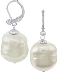 Majorica - Pearl Earrings, Sterling Silver Baroque Organic Man-made Pearl Drop - Lyst