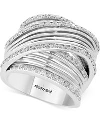 Effy Collection - Diamond Multi-row Overlap Ring (3/4 Ct. T.w.) In 14k White Gold - Lyst