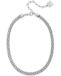 Anne Klein - Silver-tone Pave Accent Tubular Collar Necklace - Lyst