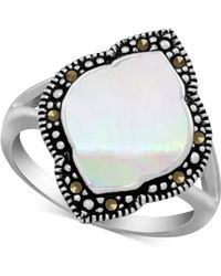 Macy's - Mother-of-pearl & Marcasite Statement Ring In Fine Silver-plate - Lyst