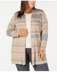 Calvin Klein - Plus Size Striped Open Cardigan - Lyst