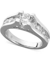 Macy's - Certified Diamond Channel Engagement Ring In 14k White Gold (1-1/2 Ct. T.w.) - Lyst