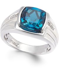 Macy's | Men's Blue Topaz (5 Ct. T.w.) And Diamond Accent Ring In Sterling Silver | Lyst