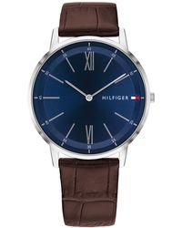 Tommy Hilfiger - Brown Leather Strap Watch 40mm Created For Macy's - Lyst