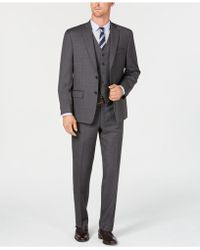 Michael Kors - Classic/regular Fit Natural Stretch Gray Check Vested Wool Suit - Lyst