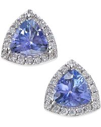 Effy Collection | Tanzanite (3/4 Ct. T.w.) And Diamond (1/8 Ct. T.w.) Stud Earrings In 14k White Gold | Lyst