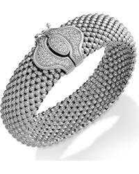 Macy's - Diamond Textured Bracelet In Sterling Silver (1/2 Ct. T.w.) - Lyst