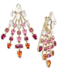 Betsey Johnson - Gold-tone Crystal Spray Front/back Earrings - Lyst