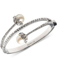 Carolee - Silver-tone Imitation Pearl And Crystal Hinged Bangle Bracelet - Lyst