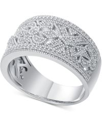 Macy's - Diamond Vintage-inspired Statement Ring (1/5 Ct. T.w.) In Sterling Silver - Lyst