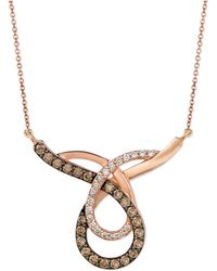Le Vian - Chocolate (3/4 Ct. T.w.) And White (1/4 Ct. T.w.) Loop Pendant Necklace In 14k Rose Gold - Lyst