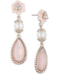 Marchesa - Gold-tone Stone, Imitation Pearl And Pavé Drop Earrings - Lyst
