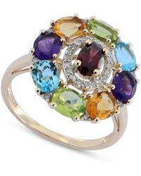 Macy's - Multi-gemstone (3-1/2 Ct. T.w.) & Diamond (1/8 Ct. T.w.) Ring In 14k Gold - Lyst