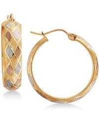 Macy's - Tri-color Argyle Patterned Hoop Earrings In 14k Gold - Lyst