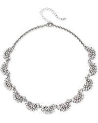 "Badgley Mischka - Rose Gold-tone Crystal & Imitation Pearl Collar Necklace, 16"" + 3"" Extender - Lyst"