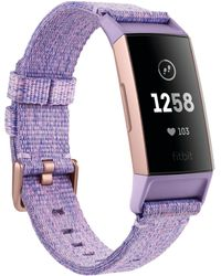 Fitbit - Charge 3 Unisex Interchangeable Lavender/rose Gold-tone Fabric & Black Elastomer Strap Smart Watch 22.7mm - A Special Edition - Lyst