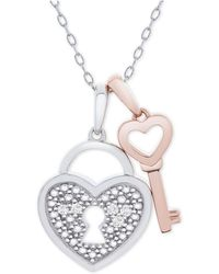 "Macy's - Diamond Accent Heart Lock & Key 18"" Pendant Necklace In Sterling Silver & 14k Rose Gold-plate - Lyst"