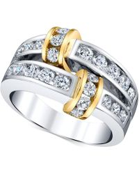 Macy's - Diamond Channel-set Statement Ring (1-1/4 Ct. T.w.) In 14k Gold & White Gold - Lyst