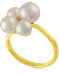 Majorica - Gold-tone Stainless Steel Imitation Pearl Cluster Ring - Lyst