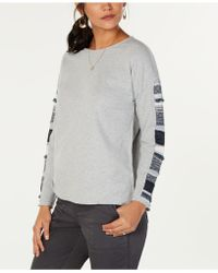Style & Co. - Petite Cotton Mixed Media Sweatshirt, Created For Macy's - Lyst