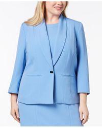 f9cba40ffbc Lyst - Kasper Plus Size One-button Jacket in Blue