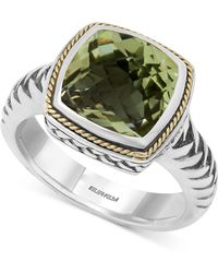 Effy Collection - Green Amethyst (4 Ct. T.w.) Ring In 18k Gold And Sterling Silver - Lyst