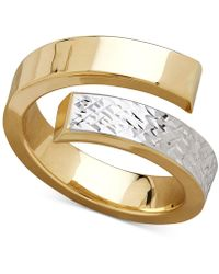 Macy's - Two-tone Bypass Ring In 14k Gold & Rhodium-plate - Lyst