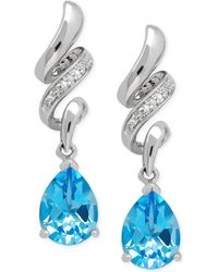 Macy's - Blue Topaz (2-5/8 Ct. T.w.) And Diamond Accent Squiggle Earrings In Sterling Silver - Lyst