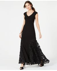 Betsy & Adam - Lace Rosette Gown - Lyst