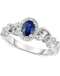Macy's - Sapphire (1/2 Ct. T.w.) & Diamond (1/8 Ct. T.w.) Ring In 14k White Gold - Lyst