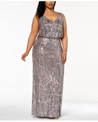 Betsy & Adam - Plus Size Sequined Blouson Gown - Lyst