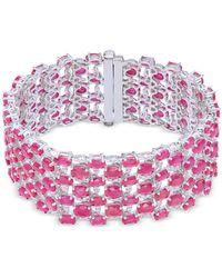 Macy's - Certified Ruby (52-1/3 Ct. T.w.) & Diamond (1/3 Ct. T.w.) Tennis Bracelet In 14k White Gold - Lyst
